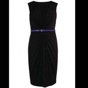Ted baker black pleated cinched waist dress